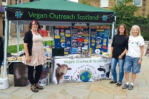 Spreading the message...Julie McLean (left) hopes vegan-curious people in the Borders will take time out to visit the stall in Galashiels on Saturday, April 20.