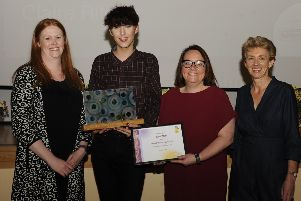 Overall winner Ross Mair  from Greenlaw, with Andrea Hall, Claire Ritchie and Councillor Carol Hamilton