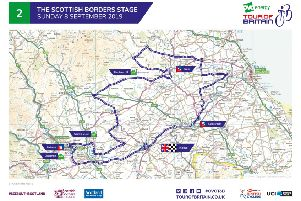 Stage 2 of the 2019 Tour of Britain through the Scottish Borders.
