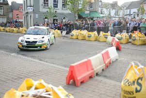 Friday night, Duns town centre stage of 2014 Jim Clark Rally''Neil Simpson / Clair Mole
