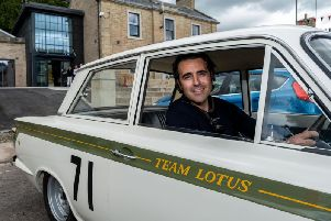 Dario pictured with Jim Clarks former Lotus Cortina which will be on display in the Duns museum