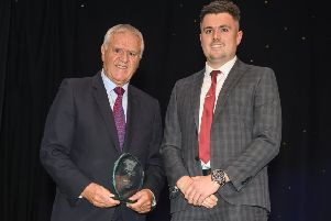 Jim Jefferies, left, was inducted into the Scottish Borders Sporting Hall of Fame by Jonathan Gall from sponsor Border Embroideries (picture by Phil Wilkinson)