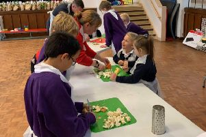 Eyemouth Primary School pupils making their soups.
