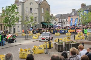 Cars travelling through at the Duns stage (picture by John Fife)