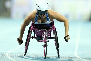 Samantha Kinghorn  in the Women's 100m T53 final at the IPC World Para Athletics Championships 2019 in Dubai (photo by Bryn Lennon/Getty Images)