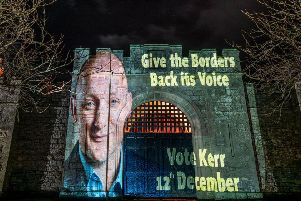 Borders landmarks light up, signalling the chance to 'give the Borders back its voice' with SNP candidate, Calum Kerr. (Photo David Kilpatrick)
