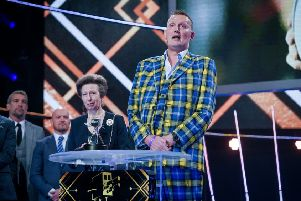 Doddie Weir collects the Helen Rollason Award at the BBC Sports Personality Of The Year 2019 in Aberdeen, pictured with Princess Anne (picture by Kieron McCarron BBC)