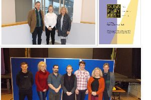 Top: Sarah Allan, John McEwen and Linda Gray at the Borders College, Galashiels and her  winning design. Bottom: Some of the students giving client presentations of their work at the Volunteer Hall, Duns.