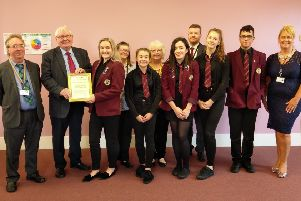 Buchan councillors present Rock Challenge team members with their Pride of Buchan Award