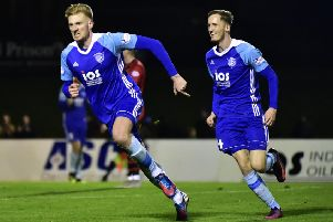 Russell McLean celebrates his winning goal with Ross Kavanagh (Pic by Duncan Brown)