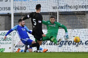 SCOTTISH LEAGUE TWO'PETERHEAD V CLYDE'(DUNCAN BROWN)''PETERHEAD'S RYAN DOW CELEBRATES HIS NEW CONTRACT WITH THE OPENING GOAL
