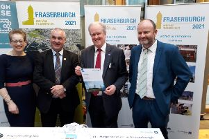 Pictured (l to r) are Alison Simpson, Fraserburgh 2021; Fraserburgh SNP councillor Brian Topping; Stewart Stevenson MSP; Alastair Rhind, Aberdeenshire Council.