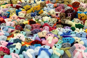Some of the knitted bears that will be hidden across Aberdeenshire