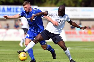 SCOTTISH LEAGUE ONE'PETERHEAD V FALKIRK'(DUNCAN BROWN)''PETERHEAD'S GARY FRASER CLASHES WITH MARGARO GOMIS