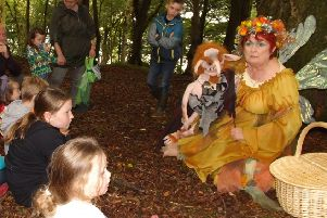 Rothesay storyteller Alison Clark - pictured with one of her puppet creations at an event in the town's Skeoch Woods on August 29 - is looking for help staging a puppet play in the run up to Christmas.