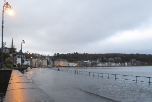 Rothesay's promenade partially under water at high tide on the afternoon of Wednesday, December 30. (Pic - Ronnie Falconer)