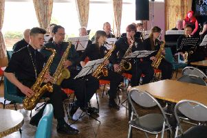 Bute Community Swing Band in action in 2016 at the Isle of Bute Jazz Festival.