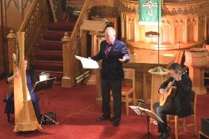 The Bardic Trio in action in Trinity Church on Friday evening.