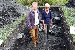 Brendan O'Hara MP with Dr Claire Ellis of Argyll Archaeology. Image courtesy of Kevin McGlynn