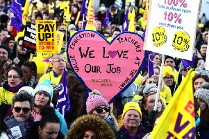 Thousands of teachers marched in Glasgow over pay in October.