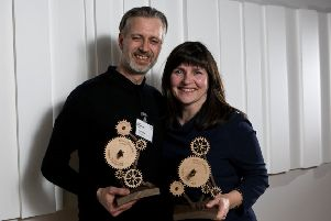 David White, Director of IFS Worldwide and Deirdre MacKenna, Director of Cultural Documents with their awards for most innovative international collaboration at the 2016 Arts & Business Scotland awards � Arts and Business Scotland.