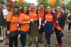 Pictured L-R from the Amazon team in Gourock doing the Kiltwalk for Calum's Cabin, are Laura Flynn, Gillian Maxwell, Paul Meahan, Jamie Walker, Jennifer Burns, Ailsa Stephen.