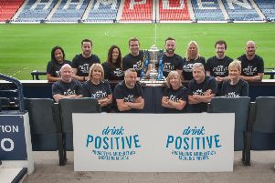 Diageo launches its Drink Responsibly campaign with the SFA represented by James McFadden, Assistant Coach, Scotland. Hampden Park, Glasgow. 20 Sep 2018. (Copyright photo by Tina Norris 07775 593 830) More info from Ian Smith, Head of Corporate Relations, Scotland, Diageo: )131 519 2045 / 07736 786 888'Copyright photograph by Tina Norris. Not to be archived or reproduced without prior permission and payment. Contact Tina on 07775 593 830 info@tinanorris.co.uk www.tinanorris.co.uk http://tinanorris.photoshelter.com