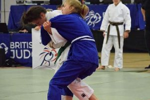 Lily Rafferty (right) shows her grappling skills on way to British judo bronze medal (Submitted pic)