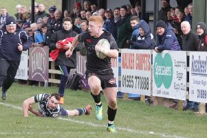 Matthew Stewart scores a try for Biggar against GHK in his final match for the club this season before heading off for New Zealand (Pic by Nigel Pacey)