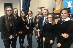 Carluke High students during International Womens Day March 2019