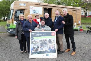 Launching the Men's Shed Tour of South Lanarkshire are experienced 'Shedders' and council officials.