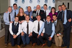 The delighted Biggar Rugby Club party celebrate their stunning success which was announced in Edinburgh (Pic courtesy of SRU)