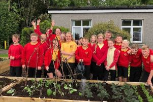 Douglas PS pupils help plant Lady Home Hospital Garden. July 2019