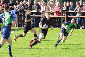 Mark Bertram in action for Biggar against Boroughmuir (Pic by Nigel Pacey)
