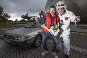 Jon Marshall, Zero Waste Scotland's recycling sector manager, and chief executive Iain Gulland want recycled food waste to be used to power vehicles, just like the DeLorean car in the movie Back to the Future. (Photo: Mark F Gibson)
