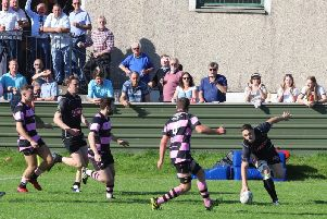 To the delight of the Hartreemill crowd, Biggars Mark Bertram touches down to score against Ayr on Saturday (Pic by Nigel Pacey)