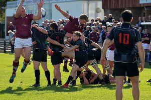 Action from Saturday's match (Pic by Alwyn Johnston)