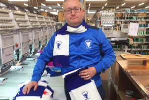 Andy Irving with newly embroidered Lanark United scarves