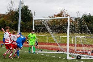 Paul Donaghy scores Carluke Rovers winner against Lesmahagow on Saturday (Pic by Kevin Ramage)