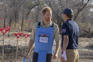 Prince Harry and The Halo Trust's CEO James Cowan prepare to eradicate a landmine in Angola during a recent visit to the country where Princess Diana first raised awareness in 1997.