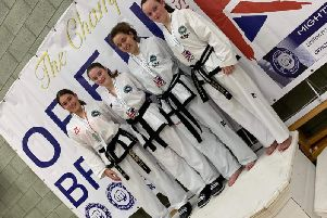 Scotia TKDs Hollie Waddell (1st right) with fellow competitors at British Open in Crawley (Submitted pic)
