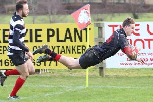 Robbie Orr scores for Biggar after a 50m break against Kelso (Pic by Nigel Pacey)
