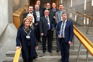 Brian Whittle MSP with A77 Action Group Members and Finlay Carson MSP in the Scottish Parliament.