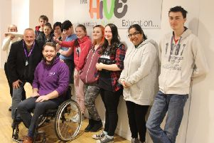 Artist Steven Brown recently with PEZ Plus and Step Into Employment (Youth Work) students at Ayrshire College.