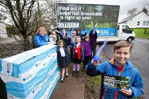 Senior pupils from Barr Primary School help celebrate fibre broadband availability in South Ayrshire with the Digital Scotland Superfast Broadband team.