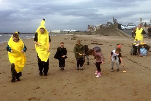 A number of celebrations of Fairtrade products took place, including this one on Ayr beach