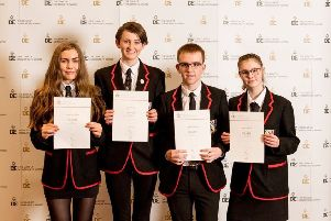 The Girvan Academy pupils who were presented with their silver Duke of Edinburgh awards.