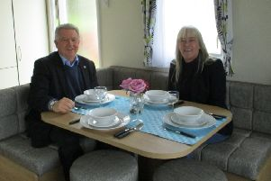 Bill Grant MP checks out accommodation in one of the Turnberry Holiday Park  holiday homes.
