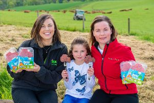 We Hae Meat is celebrating after securing an exclusive deal with Asda to stock its new kids beef sliced sausage tractor range across 52 Scottish stores, with an annual contract value of more than.'Pictured Director of We Hae Meat, Carlyn Paton and Heather Turnbull, Asda's regional buying manager for Scotland with Daniella Paton 8 (Daughter)