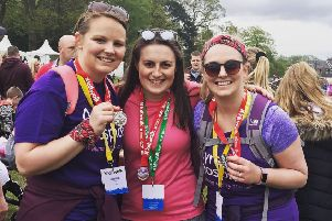 Kerry Lindsay (left), with help from her friends is taking part in 30 unique challenges to celebrate her 30th birthday and raising money for Ayrshire Hospice.